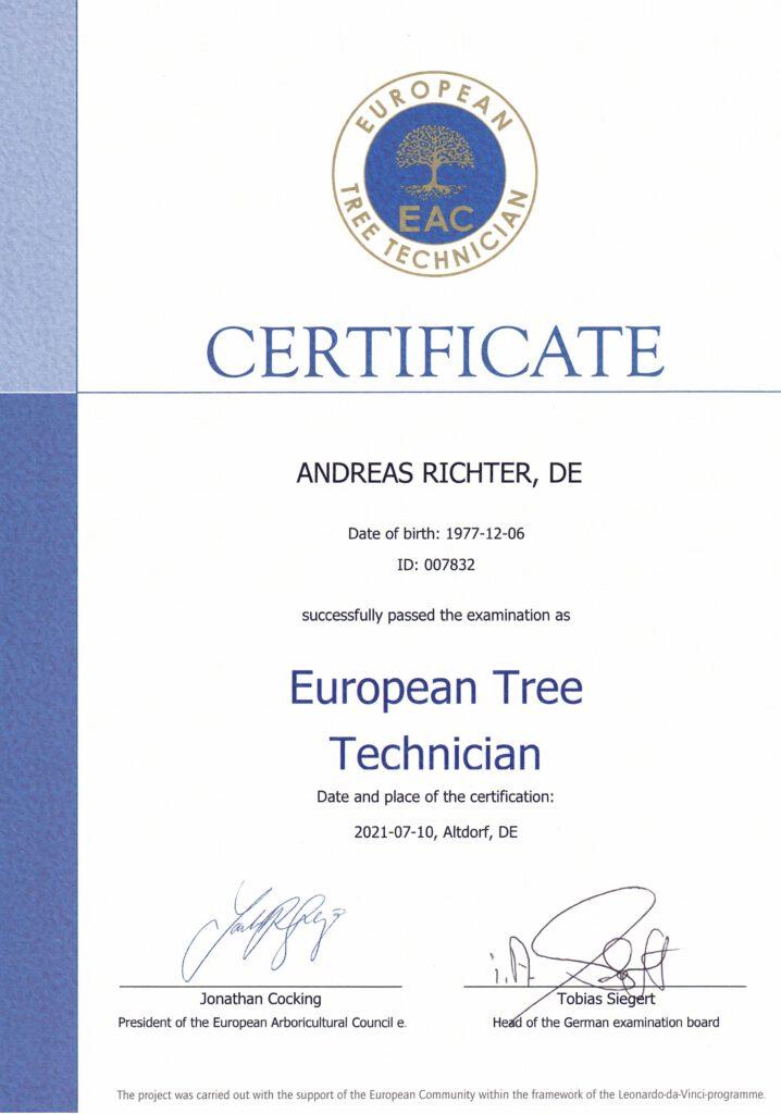Zertifikat ETT
